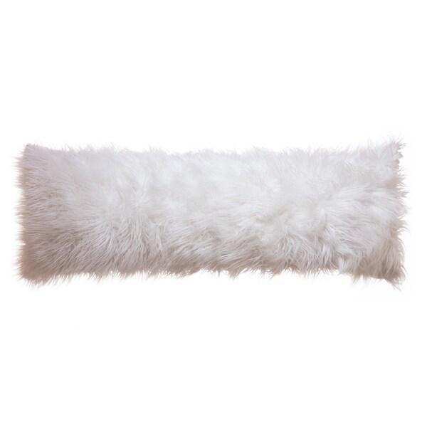 Shop Faux Fur Body Pillow Cover Mongolian White 20x54
