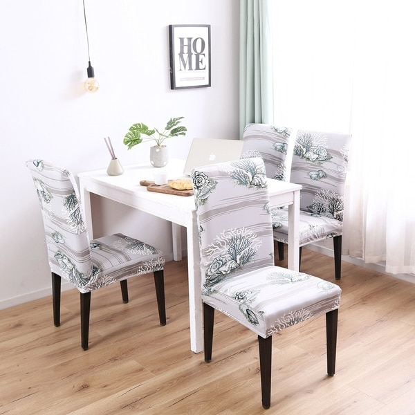 Enova Home Coral Pattern Elegant Polyester and Spandex Stretch Washable Dining Chair Slipcover Set of 4