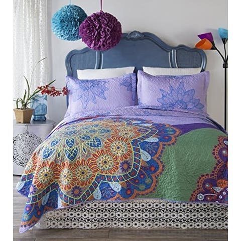 Porch & Den Delia Queen-size Boho 3-piece Quilt Set