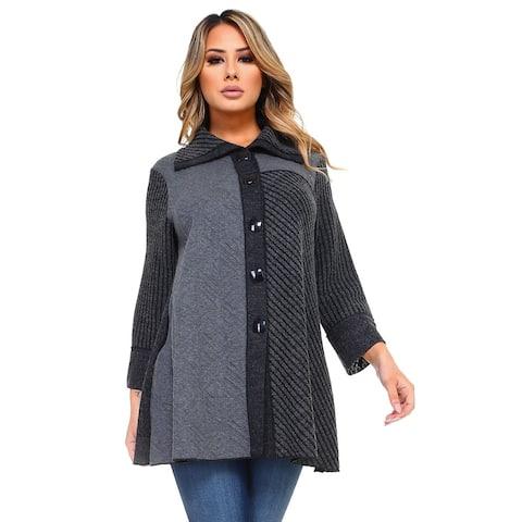 Women's Gray Multi-Pattern Patchwork Button Down Jacket
