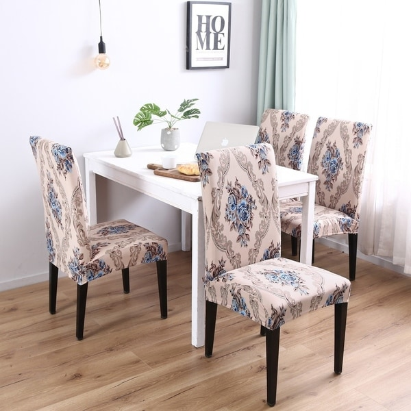 Enova Home Brown Pattern Elegant Polyester and Spandex Stretch Washable Dining Chair Slipcover Set of 4