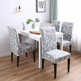 Enova Home Light Blue Elegant Polyester and Spandex Stretch Washable Dining Chair Slipcover Set of 4