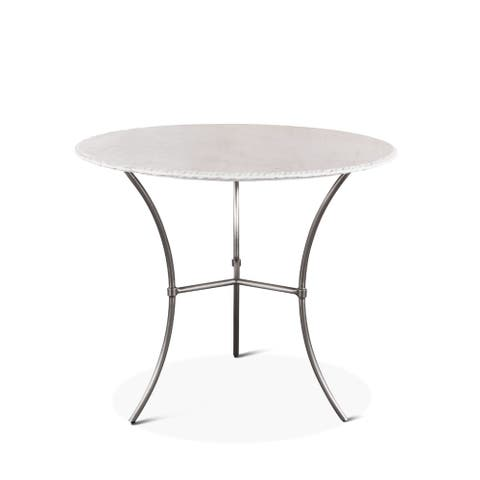 Palm Desert 36-Inch Round White Marble Dining Table
