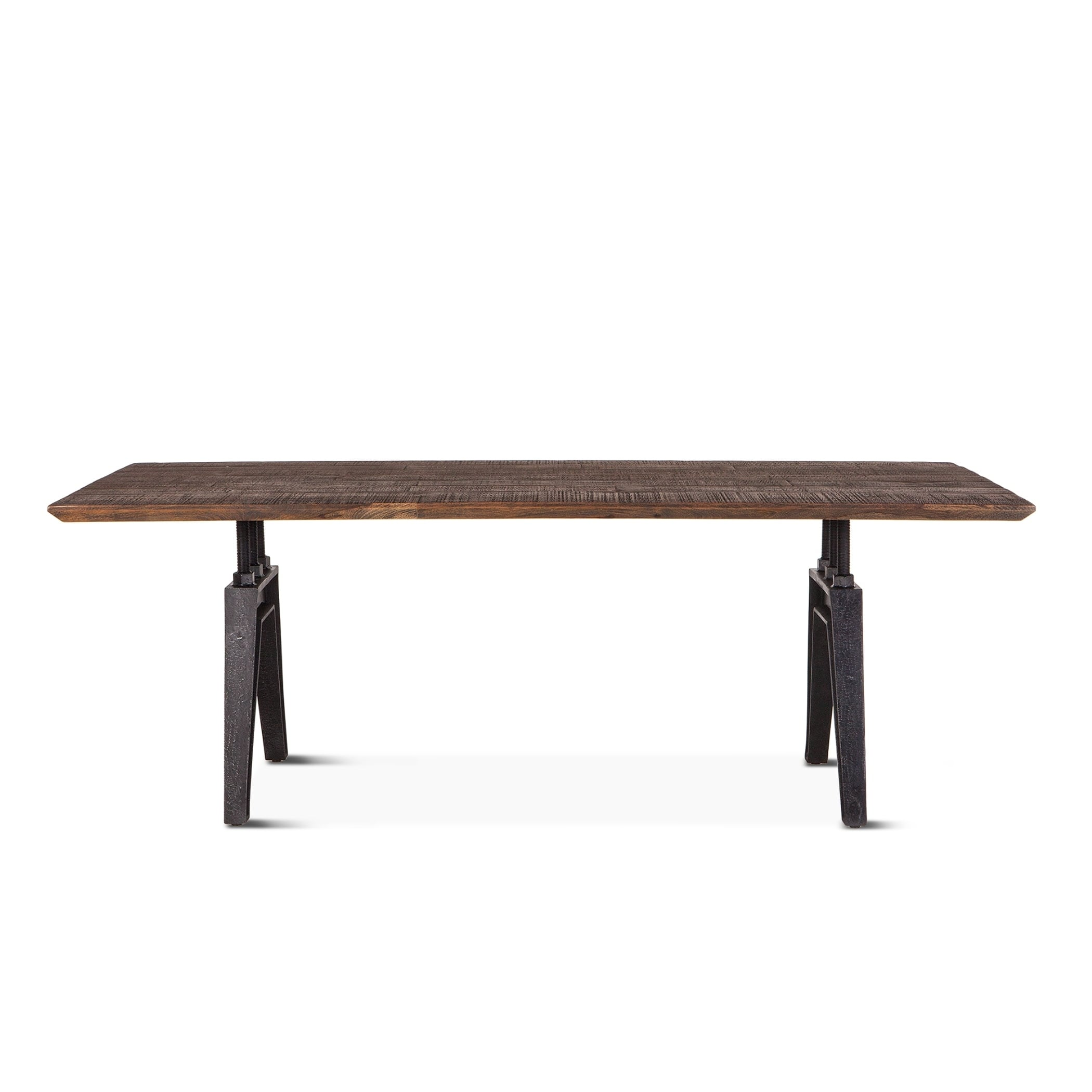Dakota 84 Inch Rectangle Dining Table With Cast Iron Base Brown