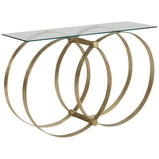 Hoop Glass & Gold Rings Console Table
