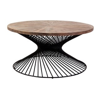 Yuma Gray Washed Acacia Wood & Industrial Metal Coffee Table