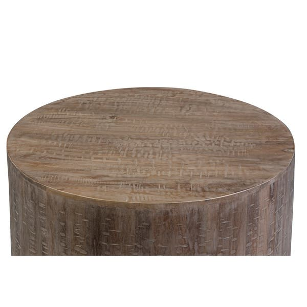 Drum Gray Wash Mango Wood Round Coffee Table Free