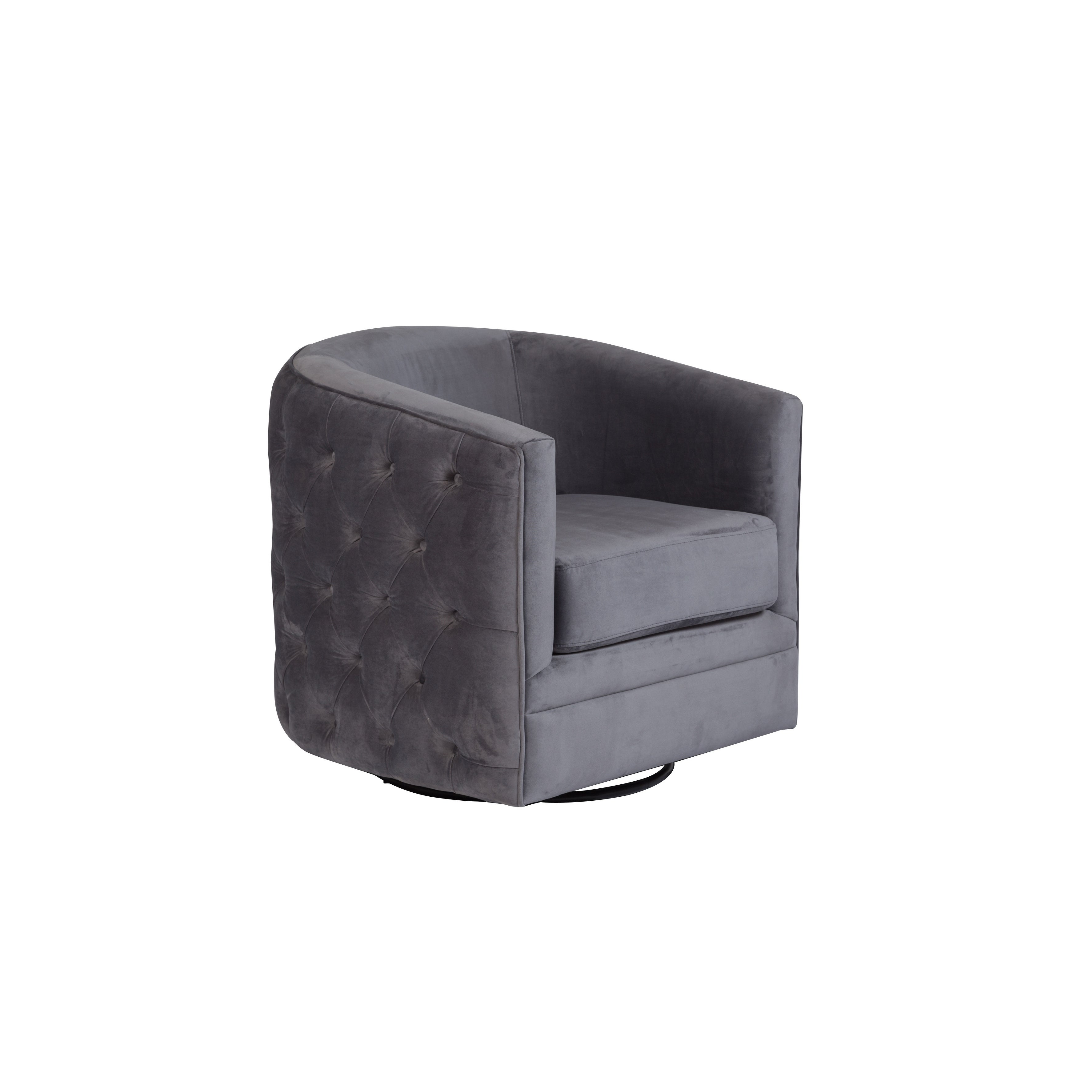 Superb Gabby Tufted Velvet Microfiber Swivel Chair Gray Pdpeps Interior Chair Design Pdpepsorg