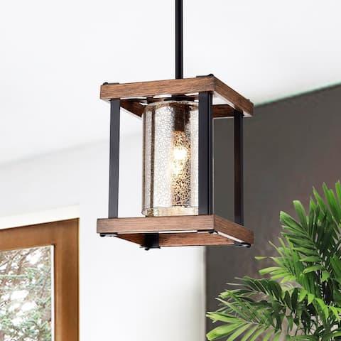 Asosi Imitation Wood Grain/Matte Black 1-light Pendant