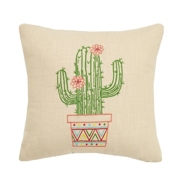 Boho Cactus Embroidered Pillow