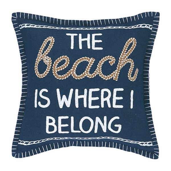 The Beach is Where I Belong Embroidered Pillow. Opens flyout.