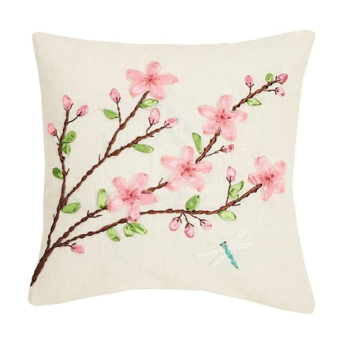 Cheery Blossom Ribbon Embroidered Pillow