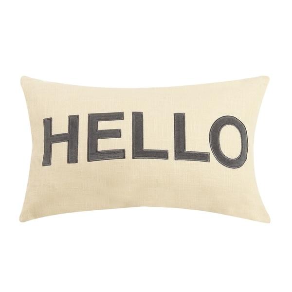 Hello Applique Embroidered Pillow