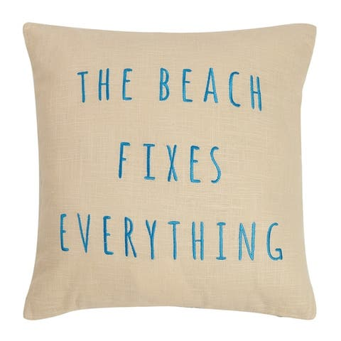 The Beach Fixes Everything Embroidered Pillow