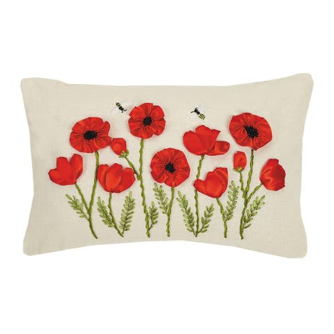 Poppy and Bee Ribbon Embroidered Pillow