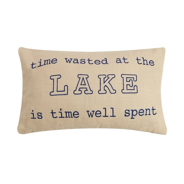 Lake is Time Well Spent Embroidered Pillow