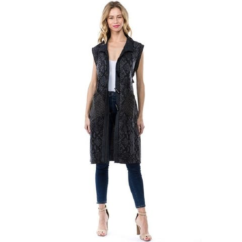 Women's Black/Blue Snake Print Cardigan Vest with Pockets