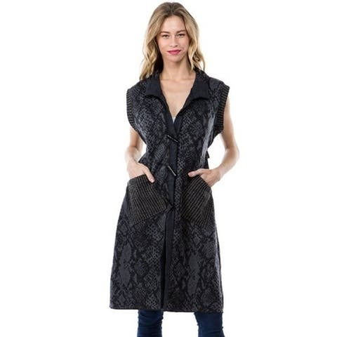 Women's Black/Blue Snake Print Cardigan Vest with Pockets