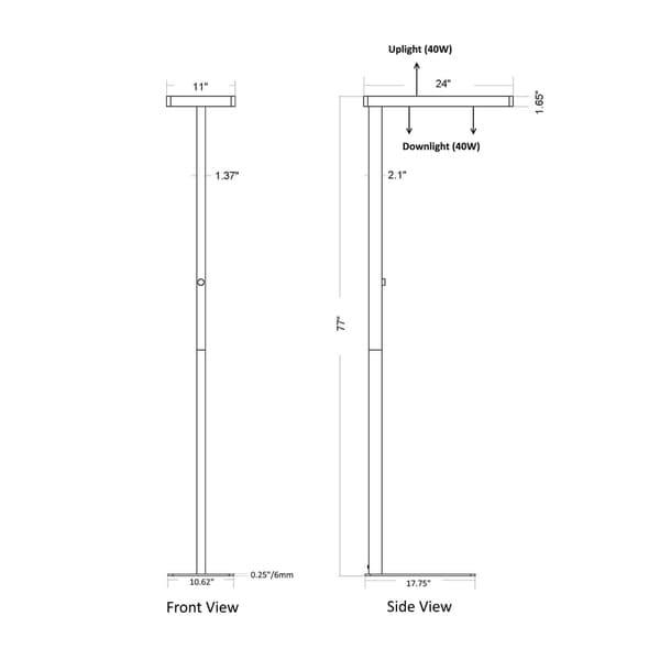 "Artiva Office-Pro 77"" Natural Daylight LED Office Floor Lamp w/ Dimmer"