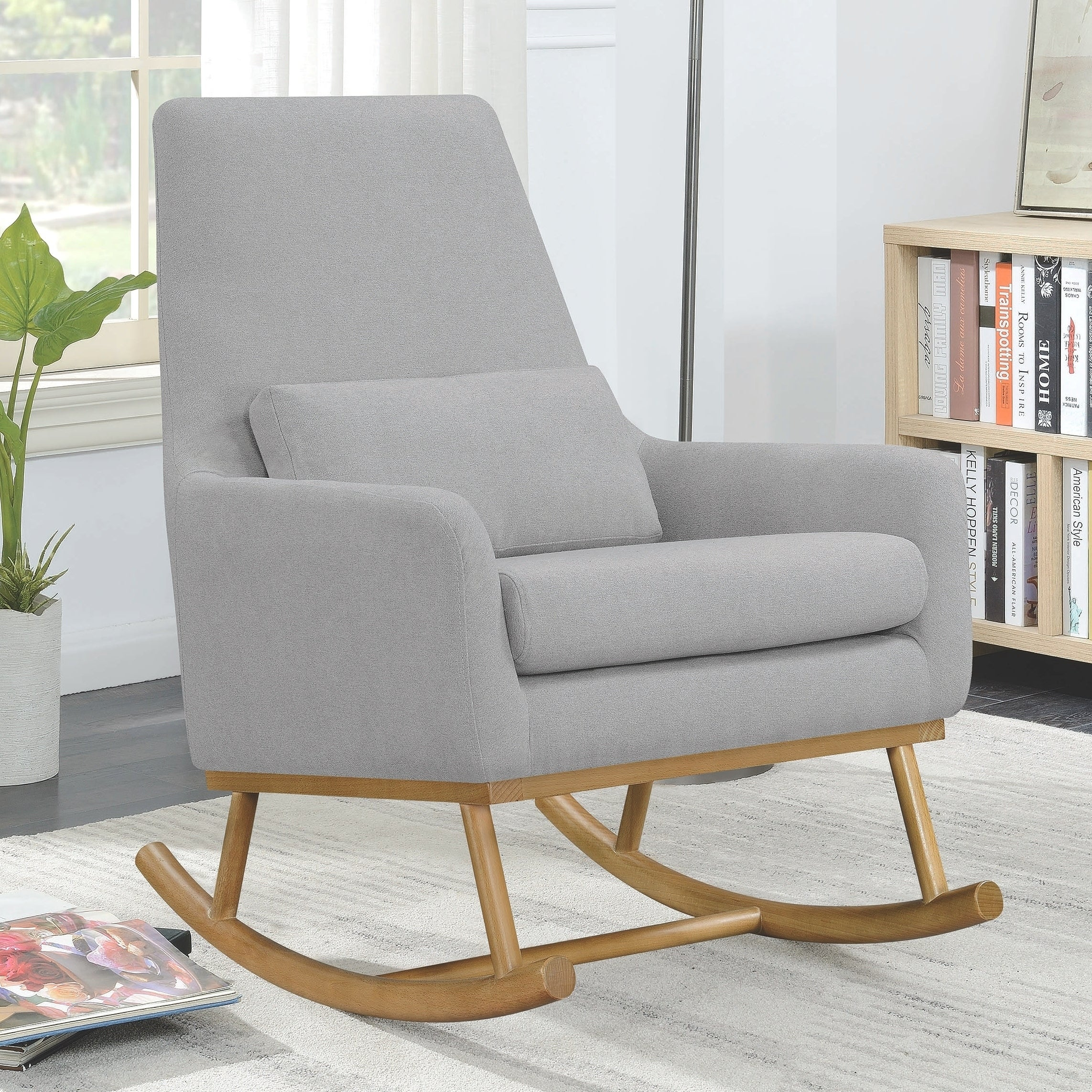 Grey Upholstered Mid Century Contemporary Design Rocking Chair
