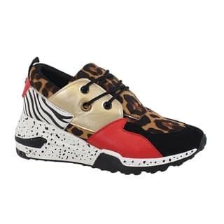 CLINT-16 Women's Color/Material Block Sneaker