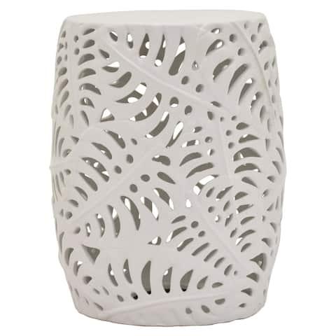 """Three Hands - 22708 - 18 """" Ceramic Stool in White - 13.5 x 13.5 x 18"""
