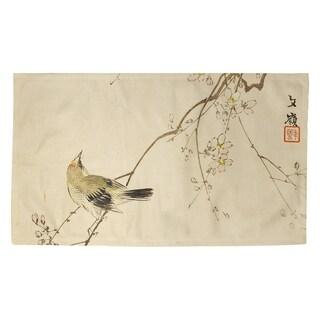 Porch & Den Keito Sato 'Vintage Japanese Bird and Blossoms Watercolor' Dobby Rug