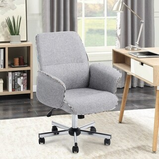 Link to Porch & Den Mohave Grey Fabric Turned Arm Desk Chair Similar Items in Home Office Furniture