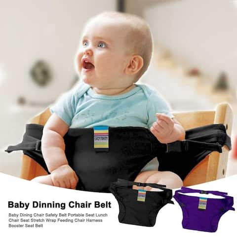 Baby Dining Chair Safety Belt Portable Seat Lunch Chair Seat Stretch Wrap Feeding Chair Harness Booster Seat Belt Black/Purple