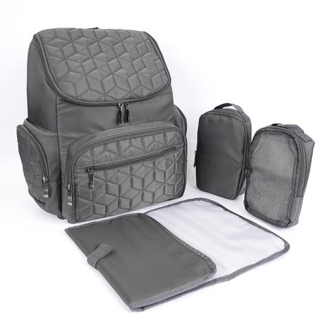 Textured Baby Diaper Bag, Waterproof with Changing Mat