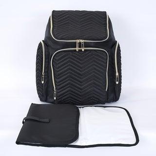 Textured Chevron Baby Diaper Bag, Waterproof with Changing Mat