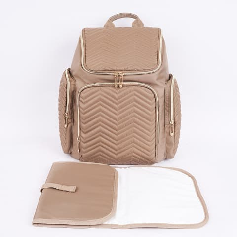 Textured Chevron Baby Diaper Bag, Waterproof with Changing Mat