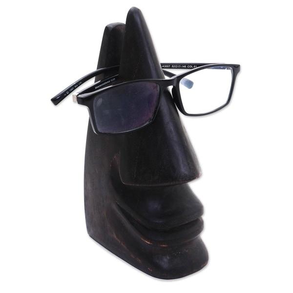 Handmade Dark Brown Wood Eyeglasses Holder (Indonesia). Opens flyout.