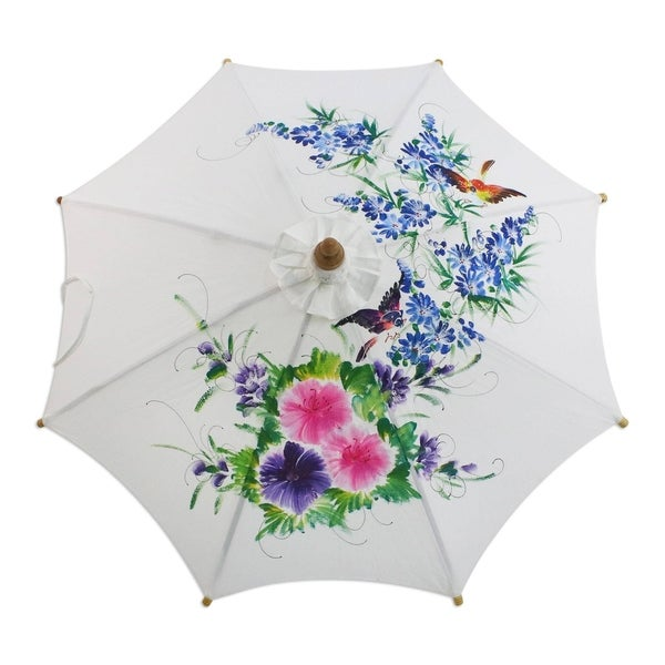 Birds and Flowers Cotton Parasol (Thailand)