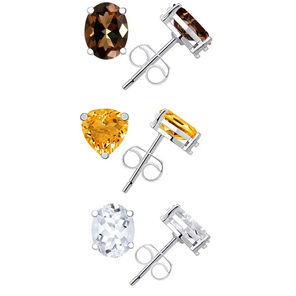 Yellow Gold Plated 925 Sterling Silver Round Cut White Quartz Fashion Stud Earrings For Women with White Topaz