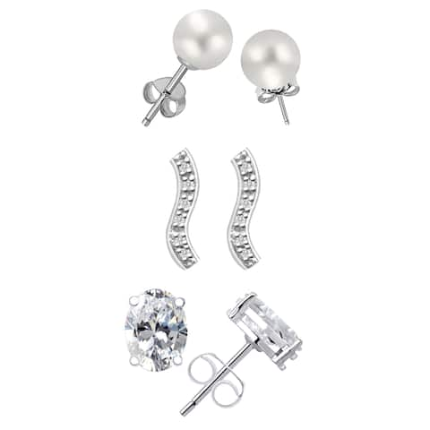 9.94 Ct Pearl, Zircon, Diamond Sterling Silver 3-Pack Stud Earrings