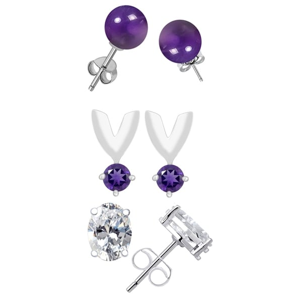 6fd22745d01d6 10.16 Ct Amethyst, Zircon 925 Sterling Silver 3-Pack Stud Earrings
