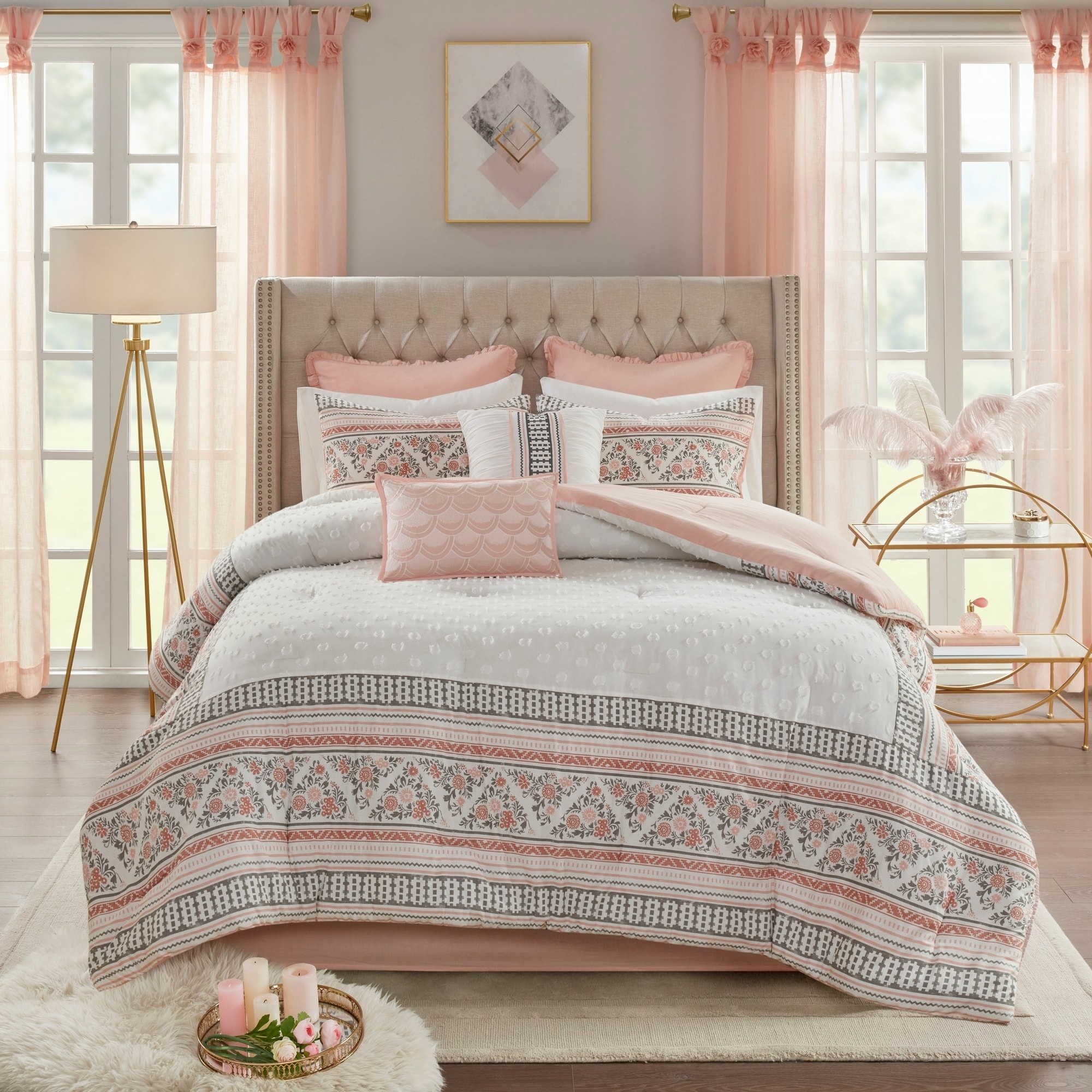 Madison Park Esther Dusty Rose White 8 Piece Cotton Printed Clip Jacquard Comforter Set Overstock 28283198