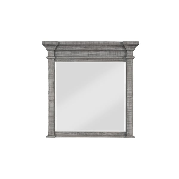 Wooden Frame Square Mirror with Tapered Moldings, Gray