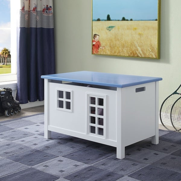 Lift Top Wooden Chest with Block Legs and Cutout Design, White and Blue. Opens flyout.