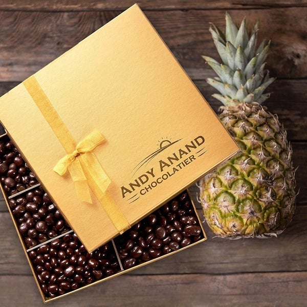 Andy Anand Chocolates- Freshly Farmed Pineapples Covered In Brazilian Rich Dark Chocolate, Greeting Card Comes in Gift Basket