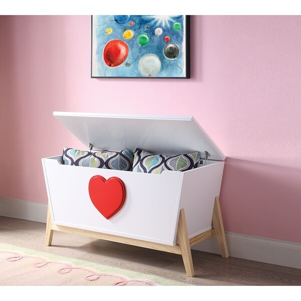Tapered Wooden Chest with Angled Legs Stand and Heart Accent, White and Red. Opens flyout.