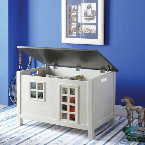 Lift Top Wooden Chest with Block Legs and Cutout Design, White and Gray