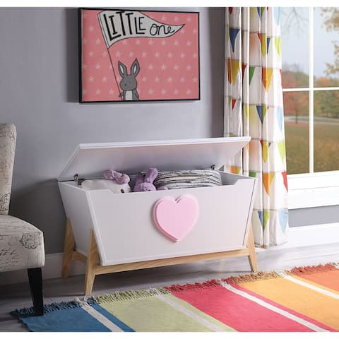Tapered Wooden Chest with Angled Legs Stand and Heart Accent, White and Pink