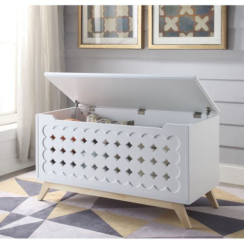 Wooden Chest with Tapered Legs and Lift Top Storage, White and Brown