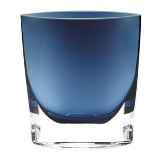 """Montego Bay Lead Free Crystal 11"""" Vase in Midnight Blue"""