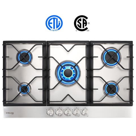 Gasland Chef GH90SF 34'' Built-in Gas Stove Top, Stainless Steel LPG Natural Gas Cooktop, 5 Sealed Burners, ETL