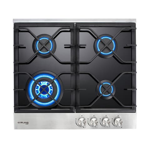 GaslandChef GH60BF 24'' Built-in Gas Stove Top, Black Tempered Glass LPG Natural Gas Cooktop, 4 Sealed Burners, ETL
