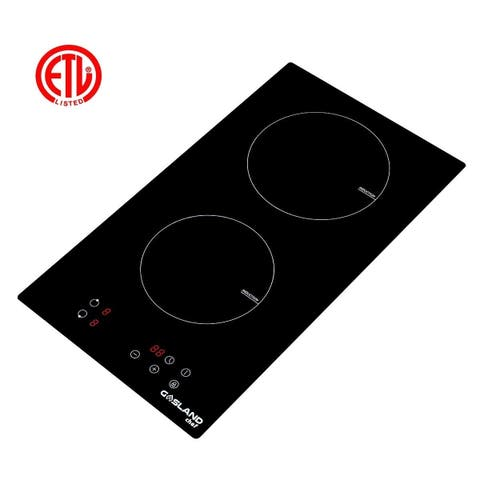 GaslandChef IH30BF Built-in Induction Cooker, 12'' Vitro Ceramic Surface Electric Cooktop, 2 Burners, ETL