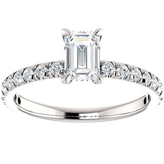 14k White Gold 1 1/2 Ct TDW Emerald Cut Diamond Engagement Ring Clarity Enhanced